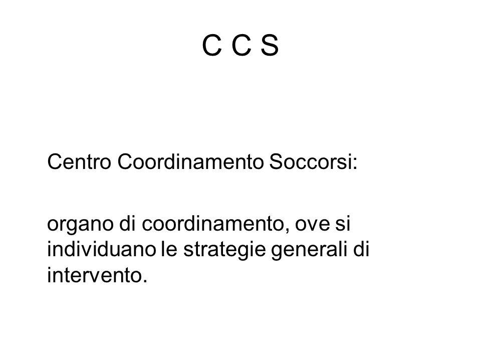 C C S Centro Coordinamento Soccorsi: organo di coordinamento, ove si individuano le strategie generali di intervento.