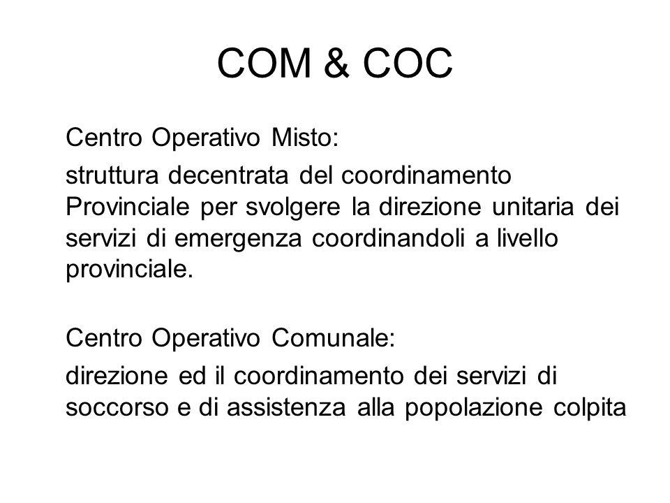 COM & COC Centro Operativo Misto: struttura decentrata del coordinamento Provinciale per svolgere la direzione unitaria dei servizi di emergenza coordinandoli a livello provinciale.