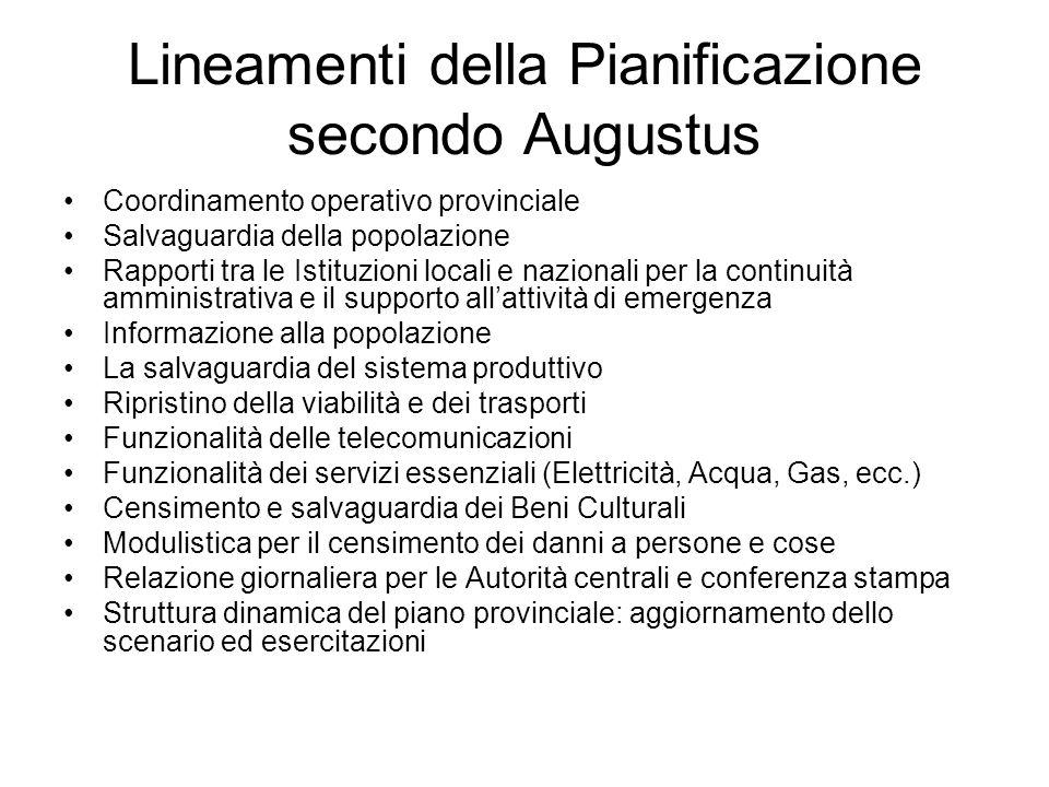 Lineamenti della Pianificazione secondo Augustus Coordinamento operativo provinciale Salvaguardia della popolazione Rapporti tra le Istituzioni locali