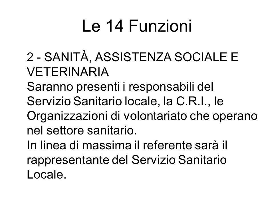 Le 14 Funzioni 2 - SANITÀ, ASSISTENZA SOCIALE E VETERINARIA Saranno presenti i responsabili del Servizio Sanitario locale, la C.R.I., le Organizzazioni di volontariato che operano nel settore sanitario.