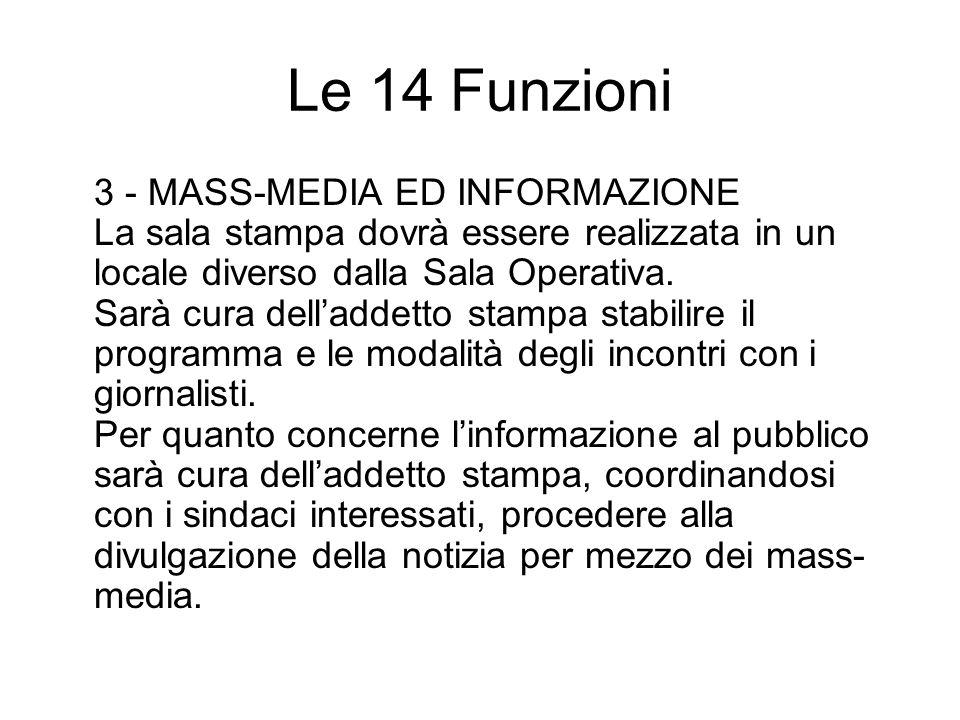 Le 14 Funzioni 3 - MASS-MEDIA ED INFORMAZIONE La sala stampa dovrà essere realizzata in un locale diverso dalla Sala Operativa. Sarà cura delladdetto