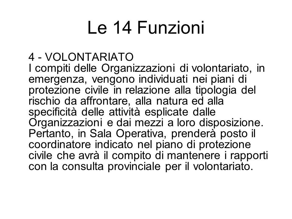 Le 14 Funzioni 4 - VOLONTARIATO I compiti delle Organizzazioni di volontariato, in emergenza, vengono individuati nei piani di protezione civile in re