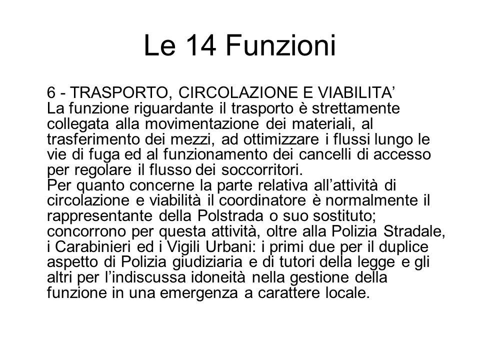 Le 14 Funzioni 6 - TRASPORTO, CIRCOLAZIONE E VIABILITA La funzione riguardante il trasporto è strettamente collegata alla movimentazione dei materiali