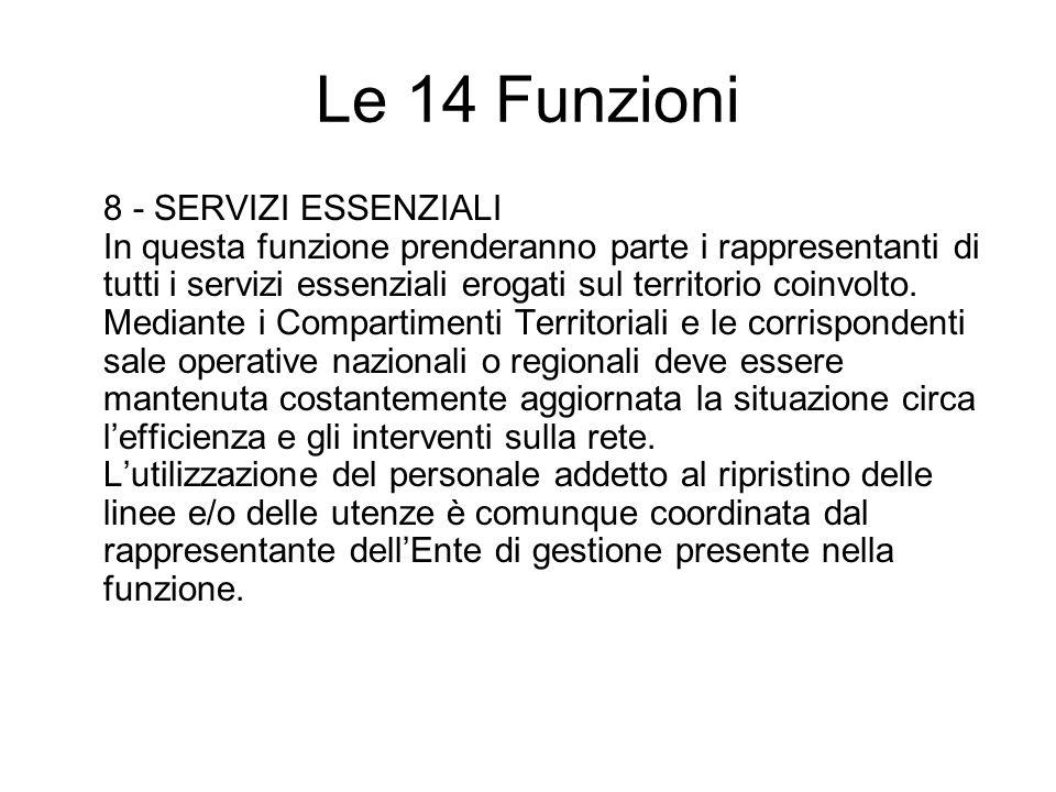 Le 14 Funzioni 8 - SERVIZI ESSENZIALI In questa funzione prenderanno parte i rappresentanti di tutti i servizi essenziali erogati sul territorio coinvolto.