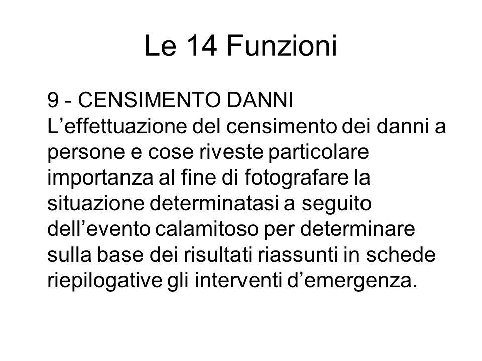 Le 14 Funzioni 9 - CENSIMENTO DANNI Leffettuazione del censimento dei danni a persone e cose riveste particolare importanza al fine di fotografare la
