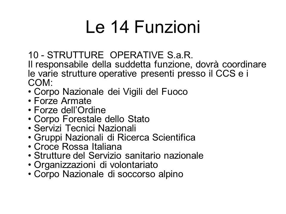 Le 14 Funzioni 10 - STRUTTURE OPERATIVE S.a.R. Il responsabile della suddetta funzione, dovrà coordinare le varie strutture operative presenti presso