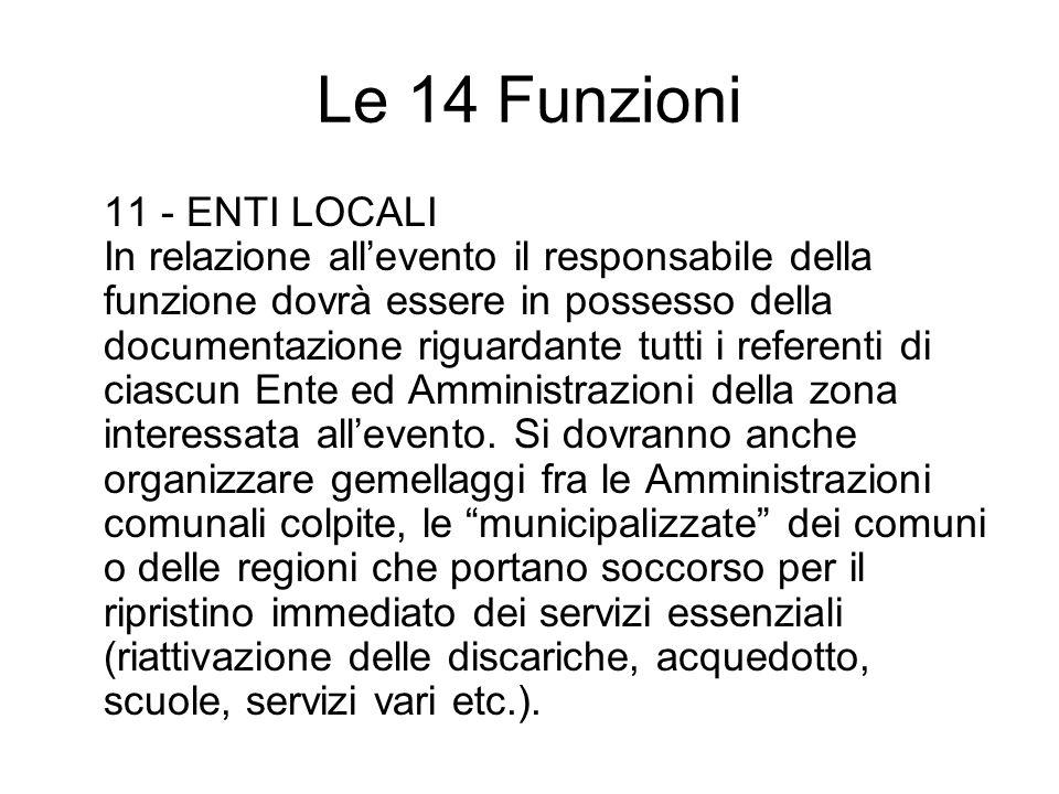 Le 14 Funzioni 11 - ENTI LOCALI In relazione allevento il responsabile della funzione dovrà essere in possesso della documentazione riguardante tutti i referenti di ciascun Ente ed Amministrazioni della zona interessata allevento.