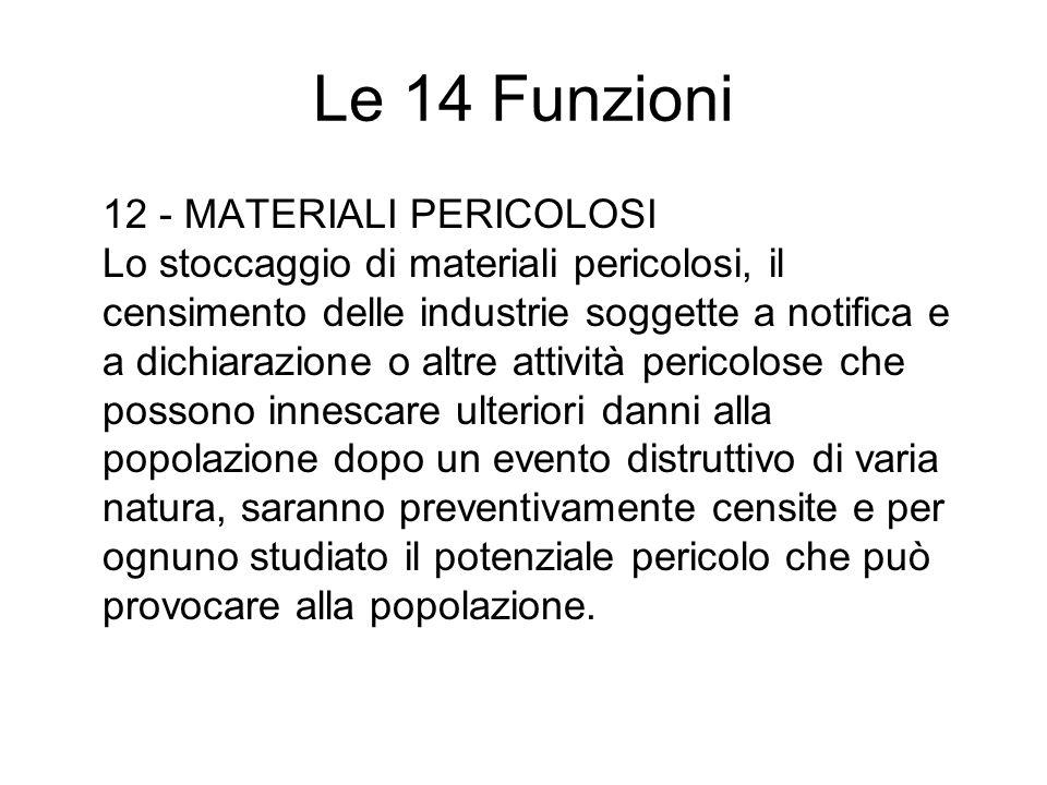 Le 14 Funzioni 12 - MATERIALI PERICOLOSI Lo stoccaggio di materiali pericolosi, il censimento delle industrie soggette a notifica e a dichiarazione o