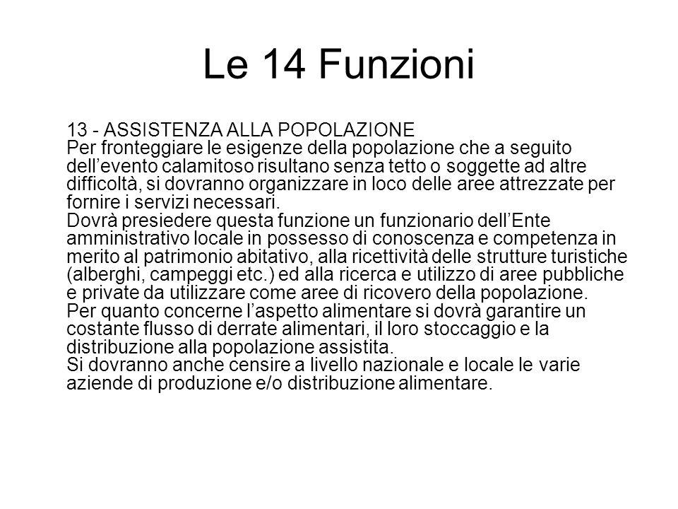 Le 14 Funzioni 13 - ASSISTENZA ALLA POPOLAZIONE Per fronteggiare le esigenze della popolazione che a seguito dellevento calamitoso risultano senza tet