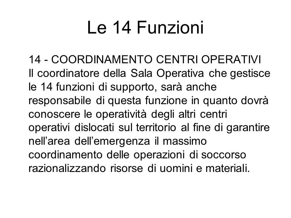 Le 14 Funzioni 14 - COORDINAMENTO CENTRI OPERATIVI Il coordinatore della Sala Operativa che gestisce le 14 funzioni di supporto, sarà anche responsabi