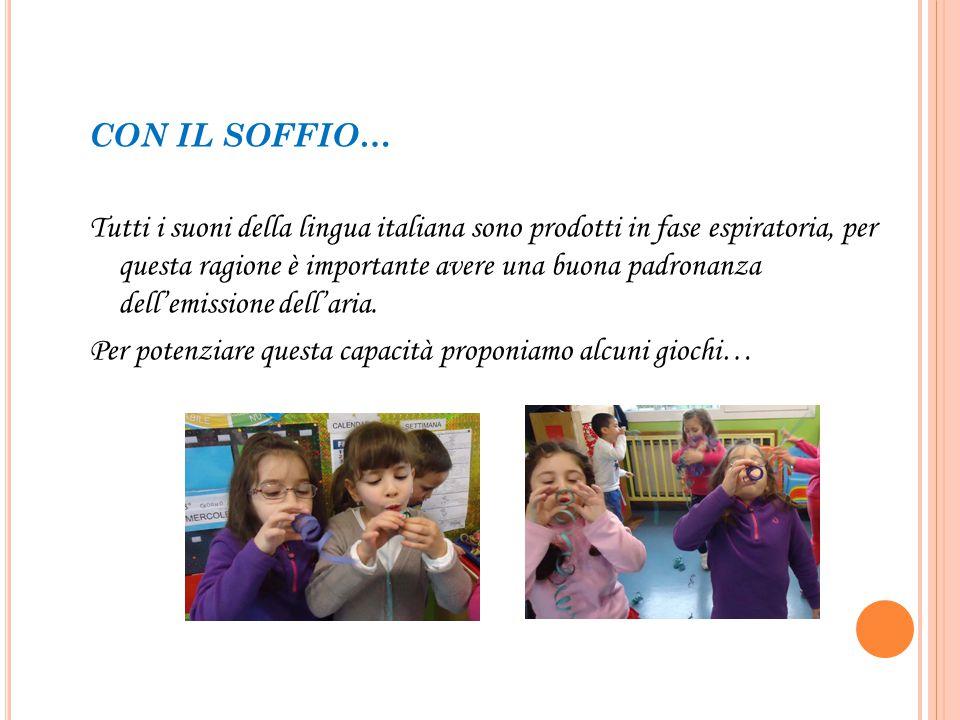 CON IL SOFFIO… Tutti i suoni della lingua italiana sono prodotti in fase espiratoria, per questa ragione è importante avere una buona padronanza delle