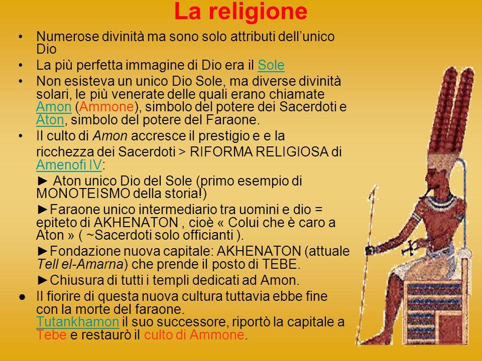 La religione Numerose divinità ma sono solo attributi dellunico Dio La più perfetta immagine di Dio era il SoleSole Non esisteva un unico Dio Sole, ma