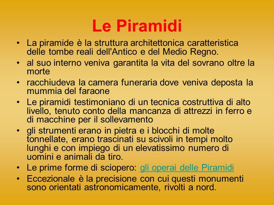 Le Piramidi La piramide è la struttura architettonica caratteristica delle tombe reali dell'Antico e del Medio Regno. al suo interno veniva garantita