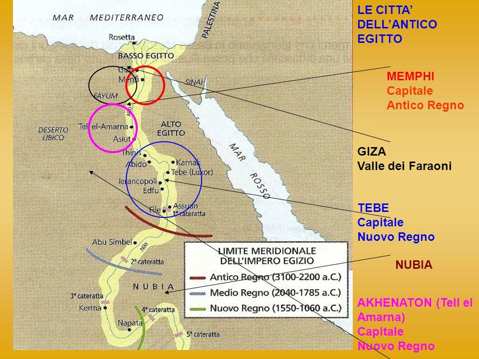 LE CITTA DELLANTICO EGITTO MEMPHI Capitale Antico Regno GIZA Valle dei Faraoni TEBE Capitale Nuovo Regno AKHENATON (Tell el Amarna) Capitale Nuovo Reg