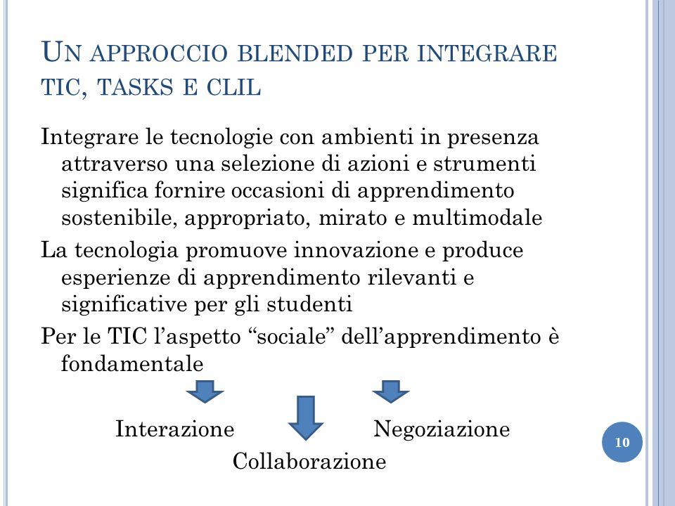 U N APPROCCIO BLENDED PER INTEGRARE TIC, TASKS E CLIL Integrare le tecnologie con ambienti in presenza attraverso una selezione di azioni e strumenti
