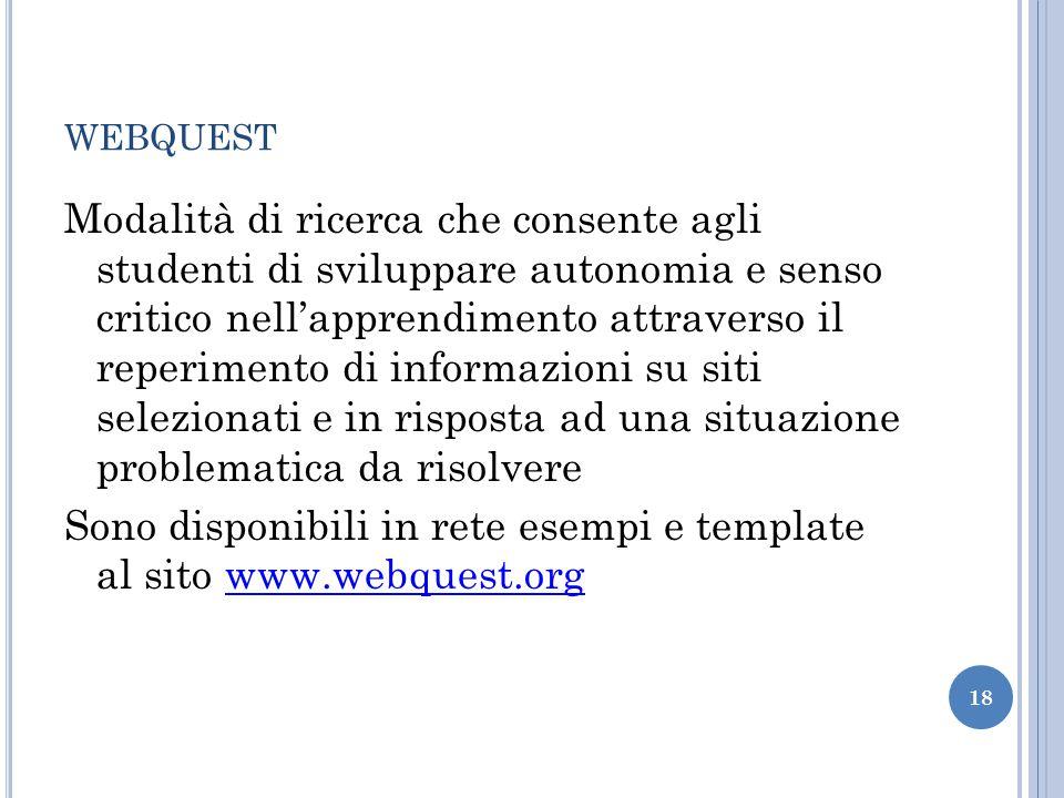 WEBQUEST Modalità di ricerca che consente agli studenti di sviluppare autonomia e senso critico nellapprendimento attraverso il reperimento di informa