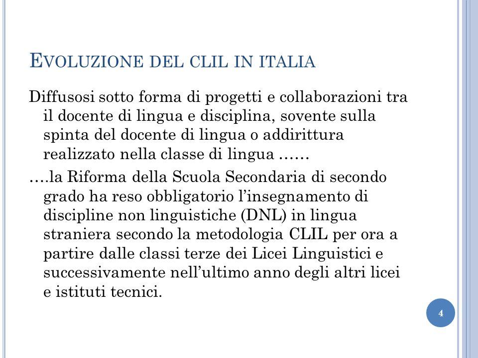 E VOLUZIONE DEL CLIL IN ITALIA Diffusosi sotto forma di progetti e collaborazioni tra il docente di lingua e disciplina, sovente sulla spinta del doce