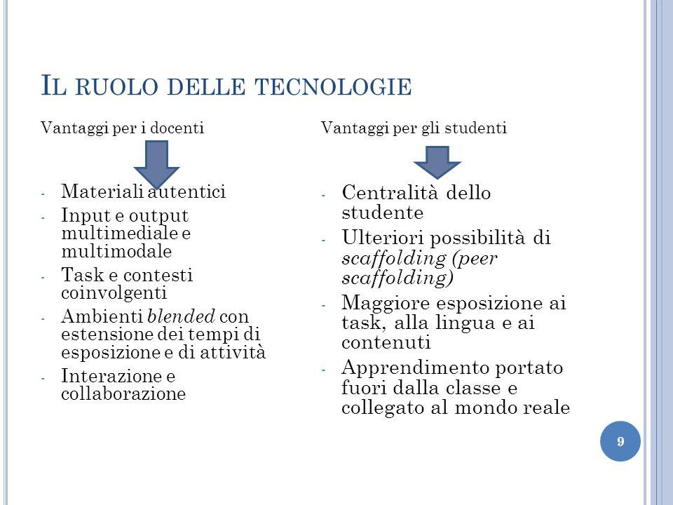 I L RUOLO DELLE TECNOLOGIE Vantaggi per i docenti - Materiali autentici - Input e output multimediale e multimodale - Task e contesti coinvolgenti - A