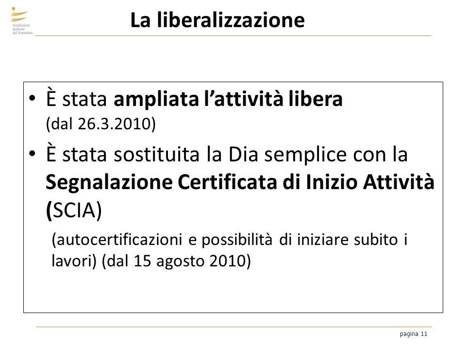 pagina 11 La liberalizzazione È stata ampliata lattività libera (dal 26.3.2010) È stata sostituita la Dia semplice con la Segnalazione Certificata di