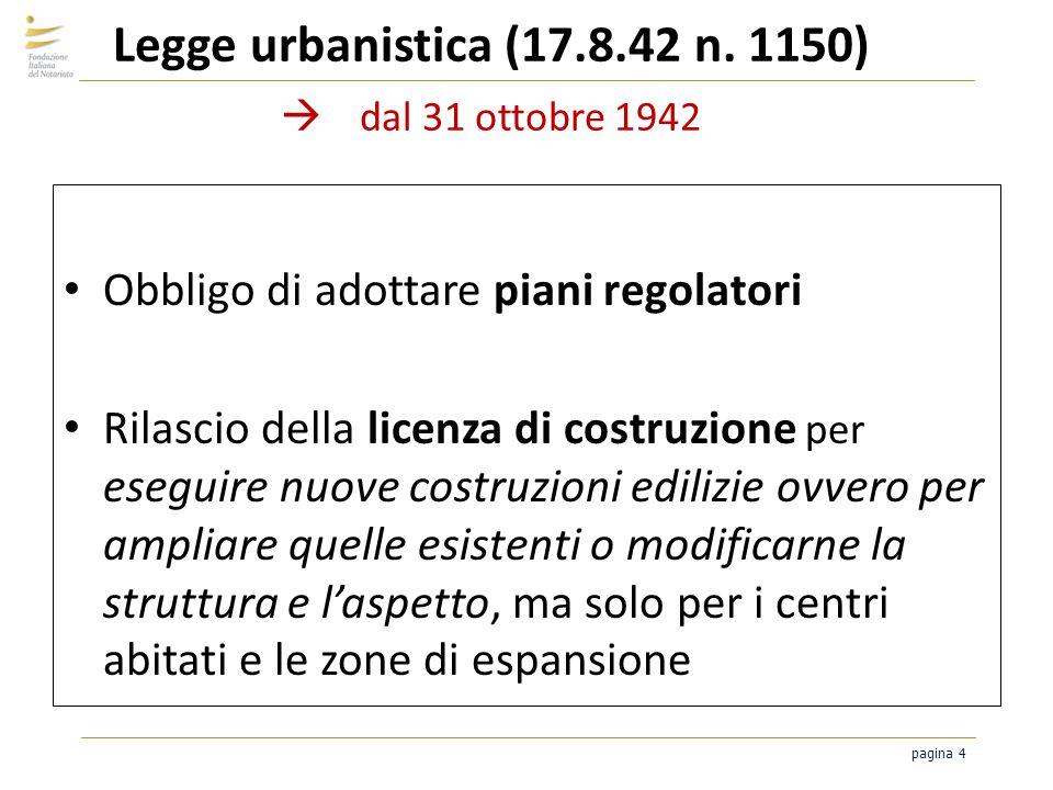 pagina 4 Legge urbanistica (17.8.42 n. 1150) dal 31 ottobre 1942 Obbligo di adottare piani regolatori Rilascio della licenza di costruzione per esegui