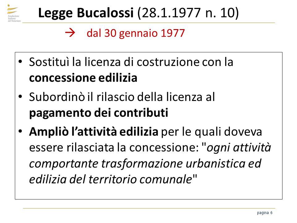 pagina 6 Legge Bucalossi (28.1.1977 n. 10) dal 30 gennaio 1977 Sostituì la licenza di costruzione con la concessione edilizia Subordinò il rilascio de