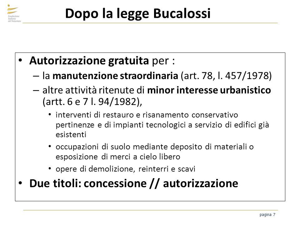 pagina 7 Dopo la legge Bucalossi Autorizzazione gratuita per : – la manutenzione straordinaria (art. 78, l. 457/1978) – altre attività ritenute di min