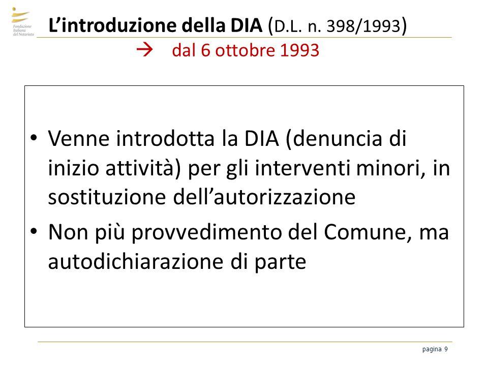 pagina 9 Lintroduzione della DIA ( D.L. n. 398/1993 ) dal 6 ottobre 1993 Venne introdotta la DIA (denuncia di inizio attività) per gli interventi mino