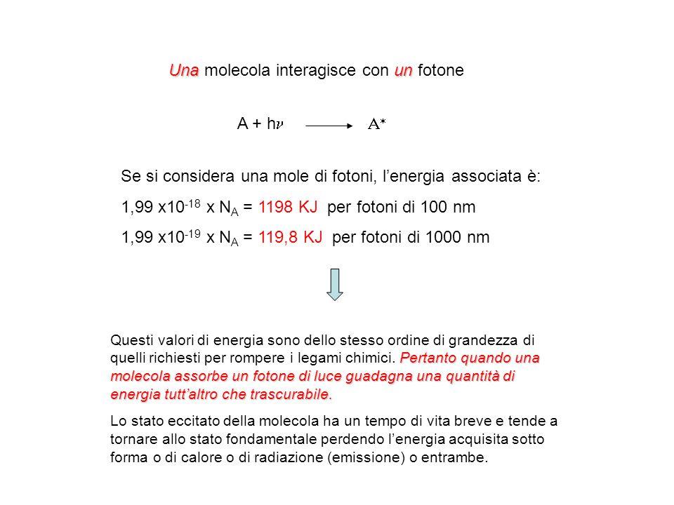 Una un Una molecola interagisce con un fotone A + h Se si considera una mole di fotoni, lenergia associata è: 1,99 x10 -18 x N A = 1198 KJ per fotoni