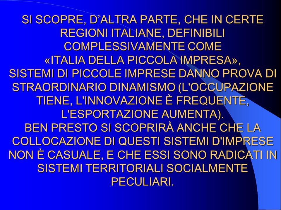 SI SCOPRE, DALTRA PARTE, CHE IN CERTE REGIONI ITALIANE, DEFINIBILI COMPLESSIVAMENTE COME «ITALIA DELLA PICCOLA IMPRESA», SISTEMI DI PICCOLE IMPRESE DA