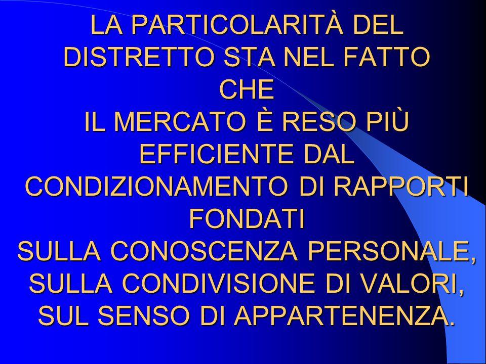 LA PARTICOLARITÀ DEL DISTRETTO STA NEL FATTO CHE IL MERCATO È RESO PIÙ EFFICIENTE DAL CONDIZIONAMENTO DI RAPPORTI FONDATI SULLA CONOSCENZA PERSONALE,