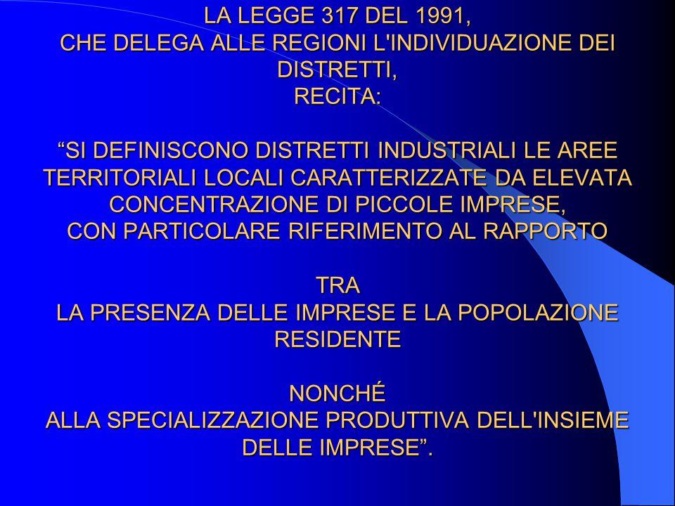 LA LEGGE 317 DEL 1991, CHE DELEGA ALLE REGIONI L'INDIVIDUAZIONE DEI DISTRETTI, RECITA: SI DEFINISCONO DISTRETTI INDUSTRIALI LE AREE TERRITORIALI LOCAL