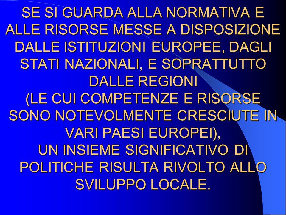 SE SI GUARDA ALLA NORMATIVA E ALLE RISORSE MESSE A DISPOSIZIONE DALLE ISTITUZIONI EUROPEE, DAGLI STATI NAZIONALI, E SOPRATTUTTO DALLE REGIONI (LE CUI