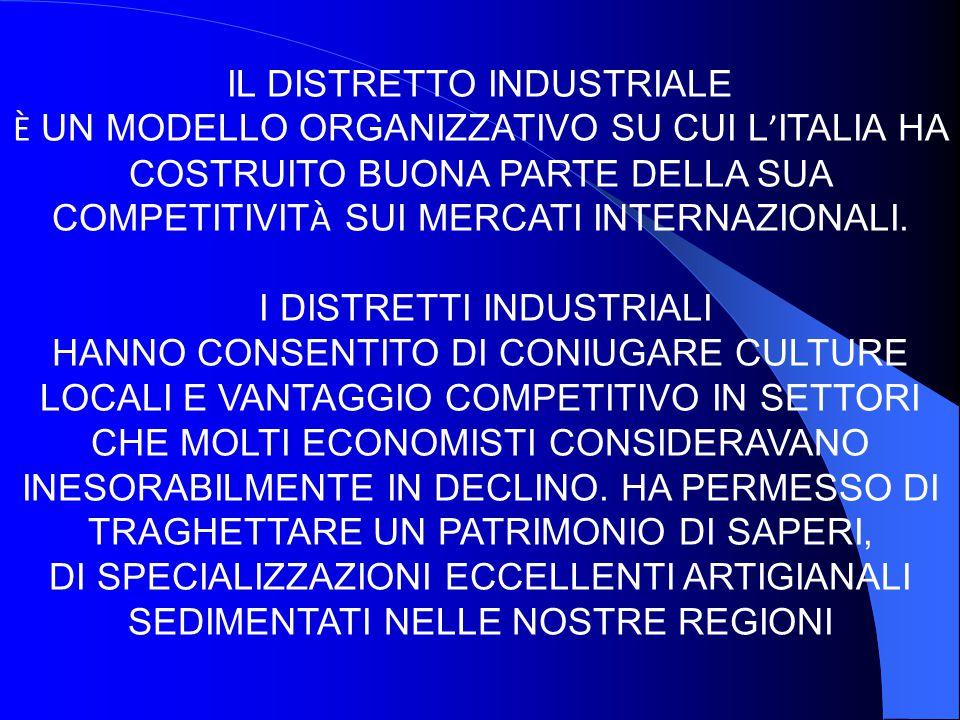 IL DISTRETTO INDUSTRIALE È UN MODELLO ORGANIZZATIVO SU CUI L ITALIA HA COSTRUITO BUONA PARTE DELLA SUA COMPETITIVIT À SUI MERCATI INTERNAZIONALI. I DI