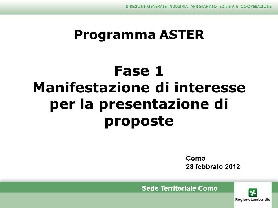 DIREZIONE GENERALE INDUSTRIA, ARTIGIANATO, EDILIZIA E COOPERAZIONE Cosa propone ASTER .