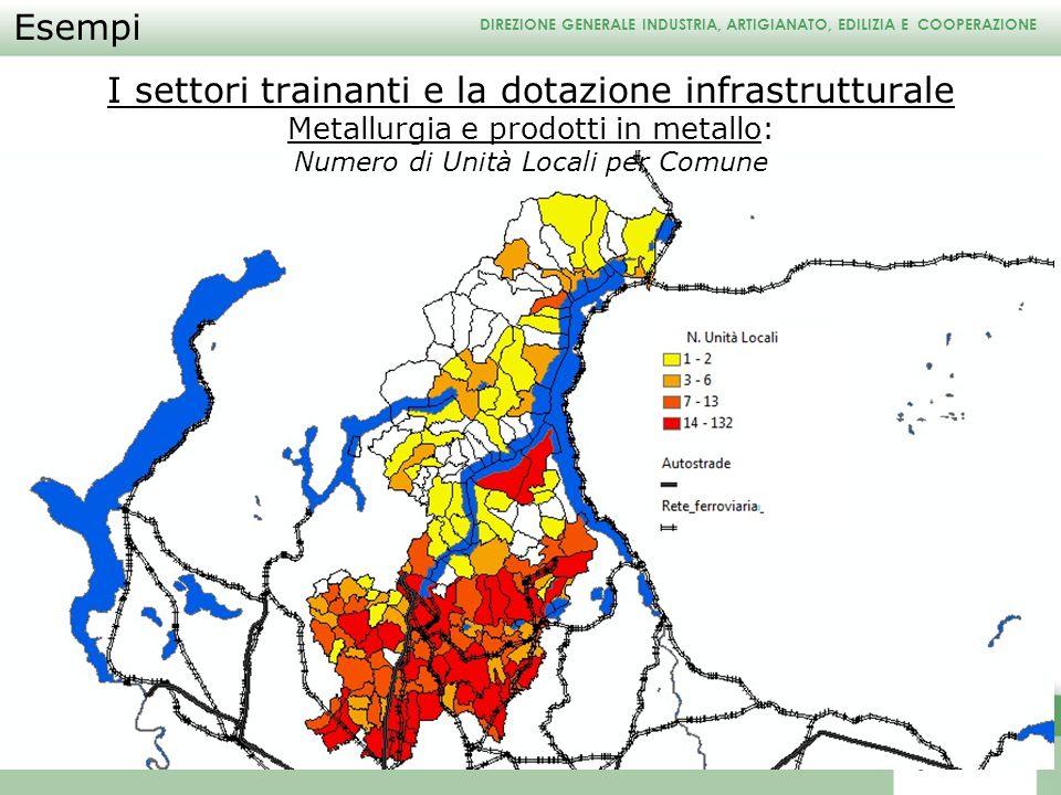 DIREZIONE GENERALE INDUSTRIA, ARTIGIANATO, EDILIZIA E COOPERAZIONE I settori trainanti e la dotazione infrastrutturale Metallurgia e prodotti in metal