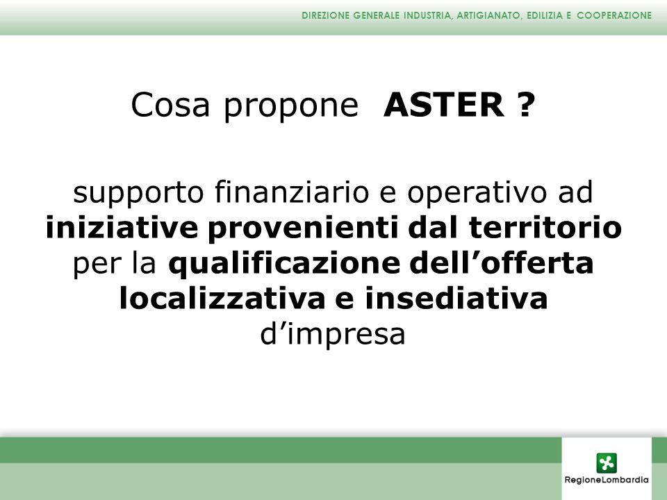 DIREZIONE GENERALE INDUSTRIA, ARTIGIANATO, EDILIZIA E COOPERAZIONE Cosa propone ASTER ? supporto finanziario e operativo ad iniziative provenienti dal