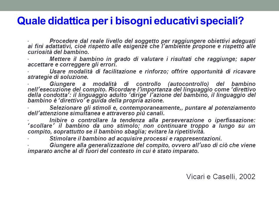 Quale didattica per i bisogni educativi speciali? Procedere dal reale livello del soggetto per raggiungere obiettivi adeguati ai fini adattativi, cioè