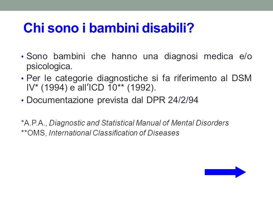 Chi sono i bambini disabili? Sono bambini che hanno una diagnosi medica e/o psicologica. Per le categorie diagnostiche si fa riferimento al DSM IV* (1