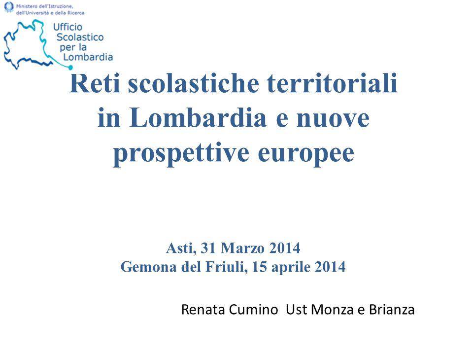 Reti scolastiche territoriali in Lombardia e nuove prospettive europee Asti, 31 Marzo 2014 Gemona del Friuli, 15 aprile 2014 Renata Cumino Ust Monza e