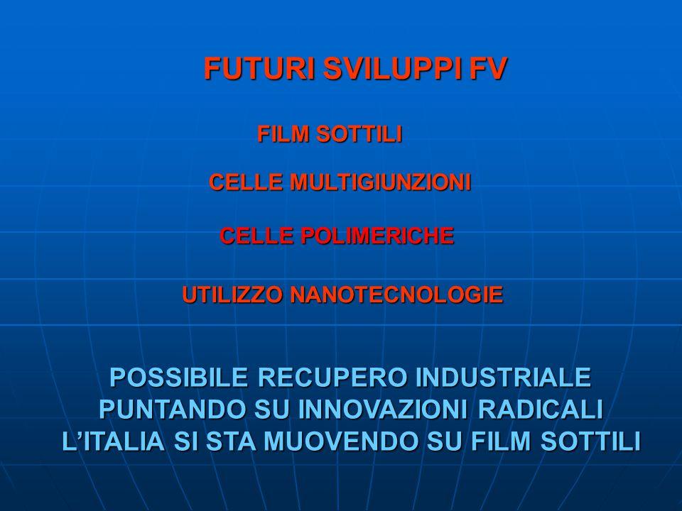 FUTURI SVILUPPI FV FILM SOTTILI CELLE MULTIGIUNZIONI UTILIZZO NANOTECNOLOGIE CELLE POLIMERICHE POSSIBILE RECUPERO INDUSTRIALE PUNTANDO SU INNOVAZIONI RADICALI LITALIA SI STA MUOVENDO SU FILM SOTTILI