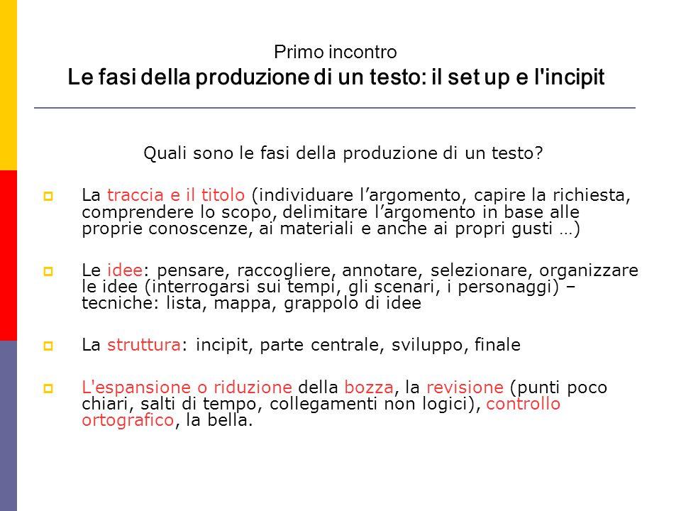 Primo incontro Le fasi della produzione di un testo: il set up e l incipit Quali sono le fasi della produzione di un testo.