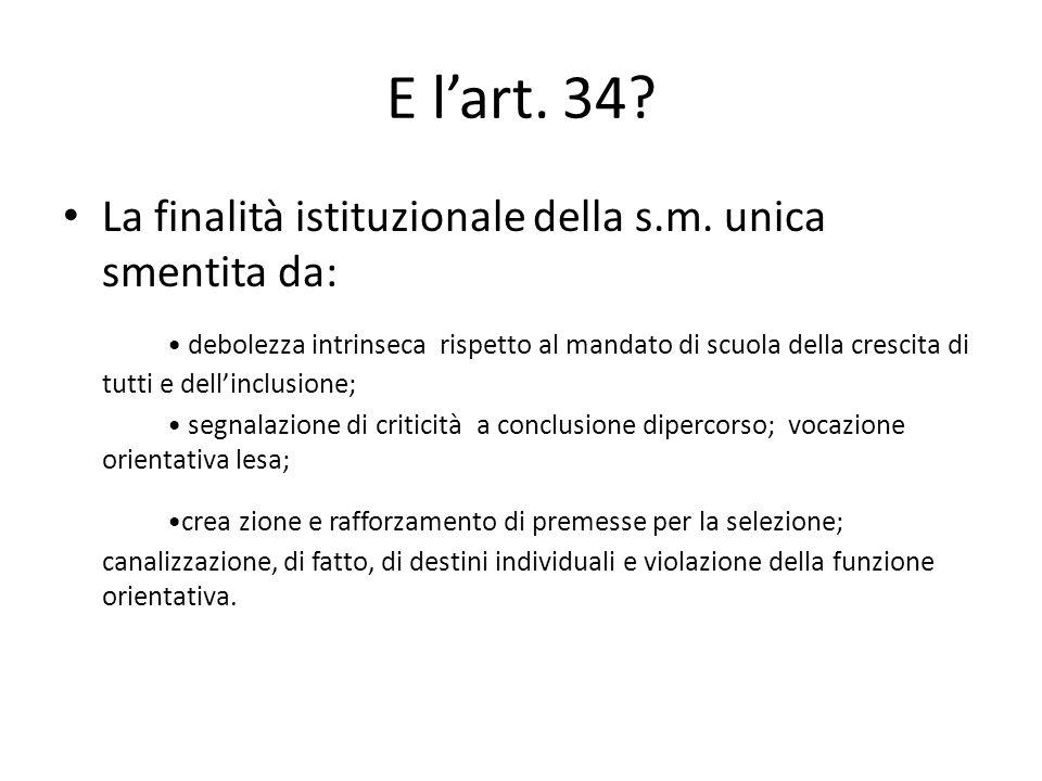 E lart. 34. La finalità istituzionale della s.m.