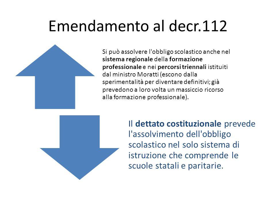 Emendamento al decr.112 Si può assolvere l obbligo scolastico anche nel sistema regionale della formazione professionale e nei percorsi triennali istituiti dal ministro Moratti (escono dalla sperimentalità per diventare definitivi; già prevedono a loro volta un massiccio ricorso alla formazione professionale).