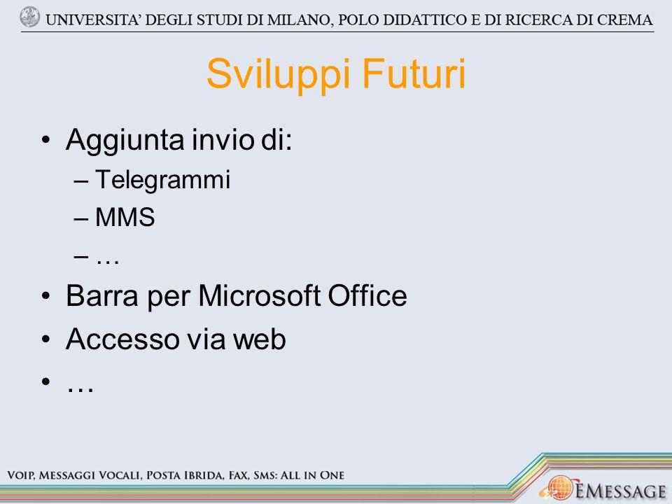 Sviluppi Futuri Aggiunta invio di: –Telegrammi –MMS –… Barra per Microsoft Office Accesso via web …