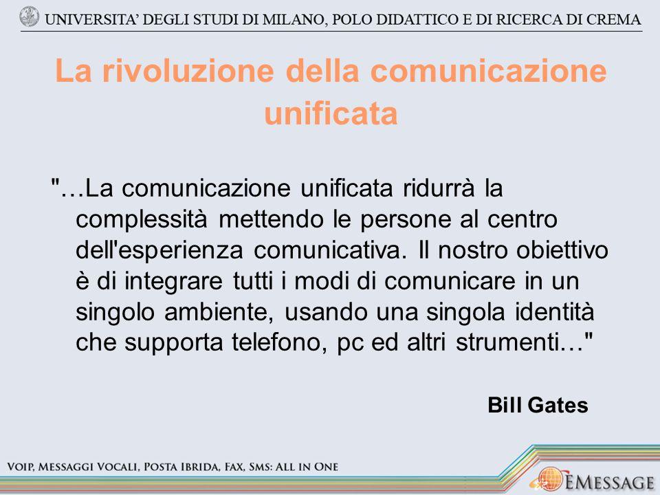 La rivoluzione della comunicazione unificata …La comunicazione unificata ridurrà la complessità mettendo le persone al centro dell esperienza comunicativa.