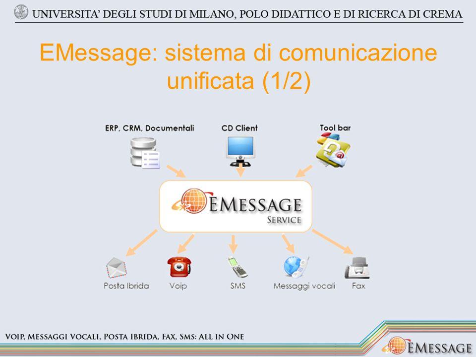 EMessage: sistema di comunicazione unificata (2/2) Sms Fax Posta ibrida –Prioritaria –Raccomandata –Raccomandata A/R Messaggi Vocali Chiamate VoIP