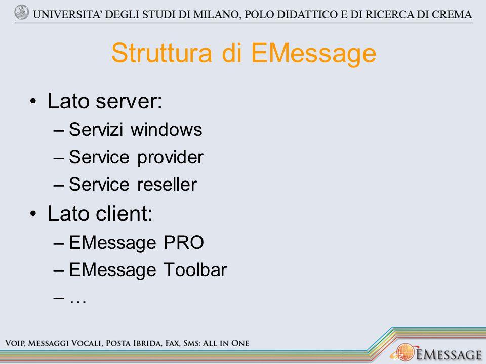 Struttura di EMessage Lato server: –Servizi windows –Service provider –Service reseller Lato client: –EMessage PRO –EMessage Toolbar –…