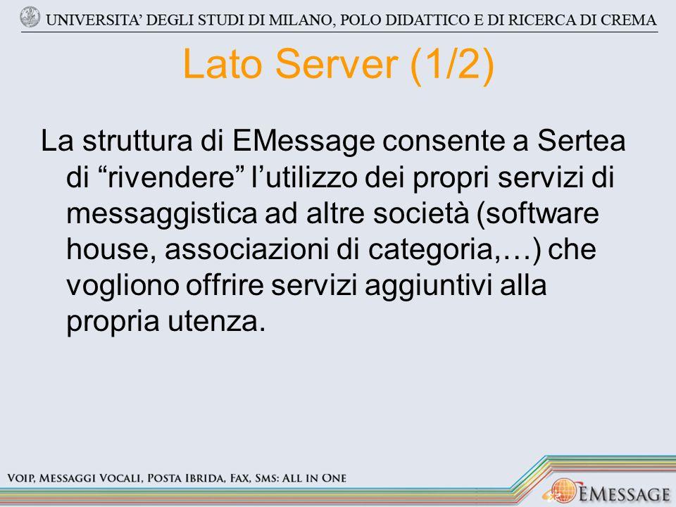 Lato Server (1/2) La struttura di EMessage consente a Sertea di rivendere lutilizzo dei propri servizi di messaggistica ad altre società (software house, associazioni di categoria,…) che vogliono offrire servizi aggiuntivi alla propria utenza.