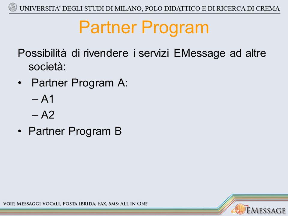 Partner Program Possibilità di rivendere i servizi EMessage ad altre società: Partner Program A: –A1 –A2 Partner Program B