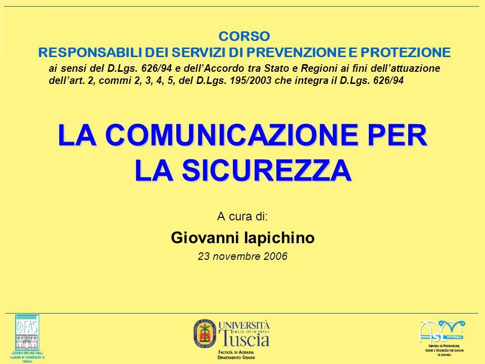LA COMUNICAZIONE PER LA SICUREZZA A cura di: Giovanni Iapichino 23 novembre 2006 ai sensi del D.Lgs.